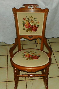 Walnut Carved Eastlake Sewing Rocker Rocking Chair Bh R191