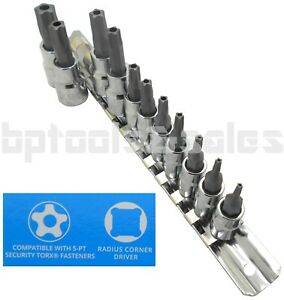 11pc 5 Point Security Star Bit Socket Set Torx Star Tamper Proof Bits W Holder
