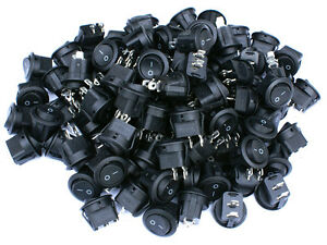 90 Pack 6a 250v 10a 125v Spst On off 2 Position Mini Round Rocker Switch 12v