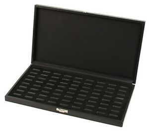 72 Ring Grained Leatherette Black Jewelry Display Organizer Box Case