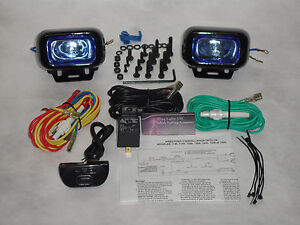 Hella Optilux 1402 Driving Lights Lamp Kit Universal Black Rectangular Blue Lens