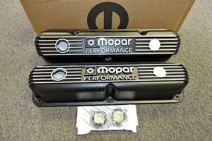 Mopar Performance 318 340 360 Small Block Black Cast Aluminum Valve Covers Dodge