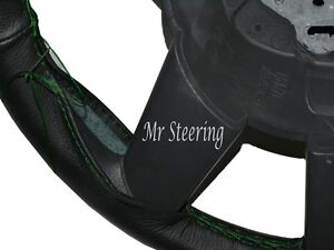 Real Black Leather Steering Wheel Cover Green Stitch For Jeep Liberty Kj 2001 07