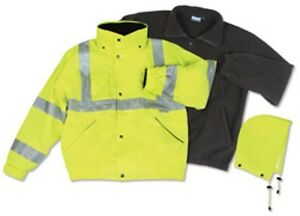 Erb Class 3 Ansi Rated Winter Bomber Jacket Hi Viz Yellow 3 1 W372 New For 2015