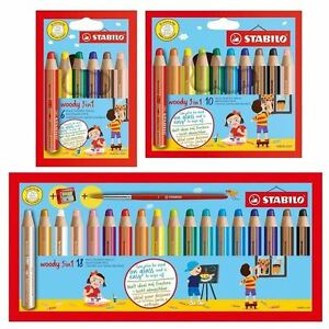 Stabilo Woody 3in1 Thick Colouring Pencils Wax Crayons Watercolour 6 10 18