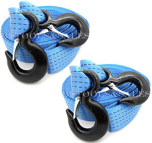 qty 2 2 X 20 Ft Polyester Tow Strap Rope 2 Hooks 12 000lb Heavy Duty