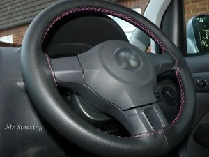 For Dodge Ram 4 2500 09 15 Black Real Leather Steering Wheel Cover Pink Stitch