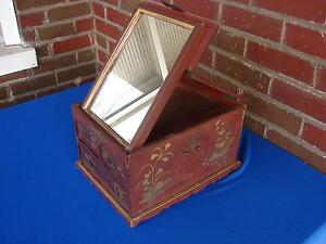 Antique Chinese Lacquer Jewelry Or Vanity Box With Folding Mirror