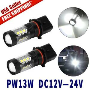 2x White High Power 80w P13w Led Bulbs For Chevy Camaro Fog Driving Light 12 24v
