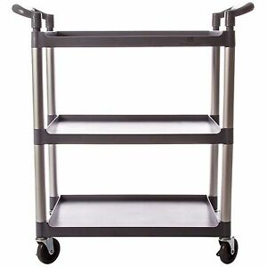 33 1 2 Plastic 3 tier Bus Cart gray