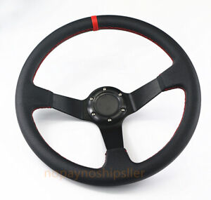 350mm Universal Gold Pvc Yellow Stitch Jdm Deep Dish Drift Racing Steering Wheel