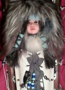 Vintage Native American Apache Made Cradleboard With Doll Natural Fur