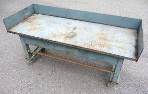 Vintage Rolling Industrial Machine Age Work Table Bench