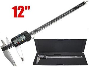 12 Digital Electronic Caliper Precision Stainless Inch metric Lcd Dial W Case