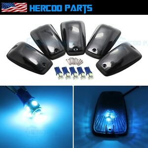 Roof Top Cab Lights Marker Smoked Ice Blue Led Bulb For Chevy Gmc 92 99