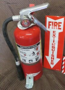 1 5lb Abc Fire Extinguisher Wnew 2021 Certification Tag Wall Hook 2 signs