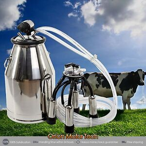 Portable Cow Milker Stainless Steel Milking Bucket Tank Barrel