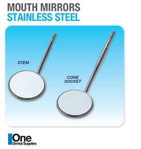 Dental Mouth Mirrors Cone Socket Front Surface 50 s No 4 W 1 Handles Octogonal