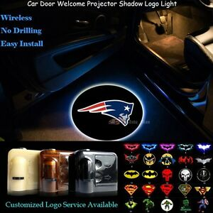 2x Car Door Wireless New England Patriots Logo Projector Ghost Shadow Led Lights