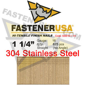 1 1 4 16 Gauge 304 Stainless Steel Straight Finish Nails 16 Ga 625 Ct