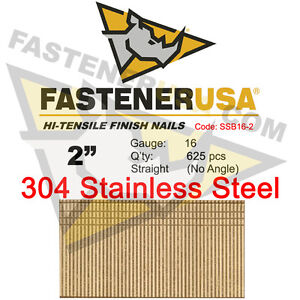 2 16 Gauge 304 Stainless Steel Straight Finish Nails 2 Inch 16 Ga 625 Ct