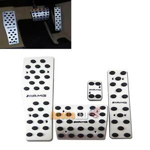 One Set 4pcs Stainless Aluminum Foot Pedals For Mercedes Benz Amg W120 W124 W140