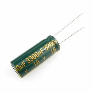 250pcs 3300uf 16v 10x25mm Electrolytic Radial High Frequency Capacitor Low Esr