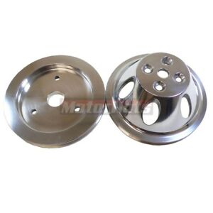 Polished Aluminum Pulley Set Chevy Bbc 65 68 Short Water Pump 1 Groove 396 454