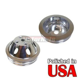 Polish Billet Aluminum Sbc Chevy Long Water Pump Crank Pulley Double 2 Groove350