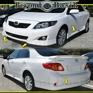 For 2009 2010 Toyota Corolla 5pc Factory S Style Body Kit Front side Skirts rear