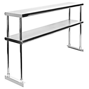 Commercial Stainless Steel Double Overshelf 18 X 60 For Work Table