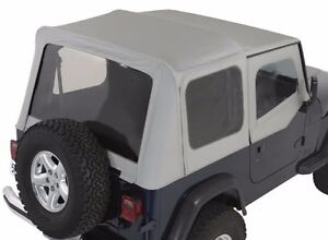 Smittybilt Replacement Soft Top In Gray Denim For 1988 1995 Jeep Wrangler Yj