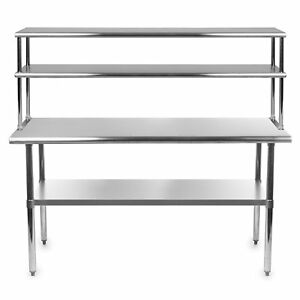 Stainless Steel Work Prep Table 18 X 48 With Adjustable Double Overshelf 12 X 48