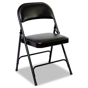 Steel Folding Chair With Padded Back seat Graphite 4 carton