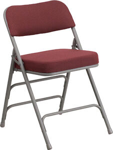 Metal Folding Chair With Burgundy Fabric Triple Braced Double hinged