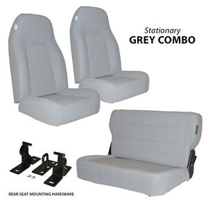 Black Mountain Jeep Cj Wrangler Yj 76 95 Complete Set Seat Grey Denim Stationary