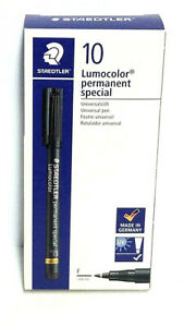 Staedtler Lumocolor Permanent Special Marker Black Fine Box Of 10 Ea 319f9