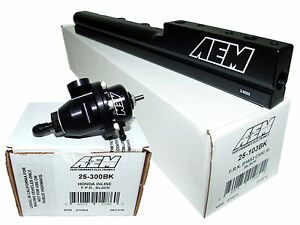 Aem High Volume Fuel Rail Adj Pressure Regulator For Civic Del Sol B16a2 B16a3
