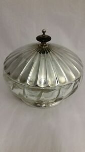 Silverplate Covered Crystal Candy Dish