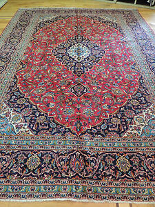 Striking Large Semi Antique Persian Kashan Oriental Area Rug 10x14 Red