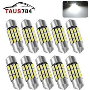 10x 31mm De3175 3022 Festoon Car Led License Dome Map Interior Light White 6000k