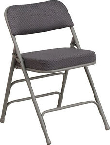 20 Pack Metal Folding Chair With Gray Fabric Triple Braced Double hinged