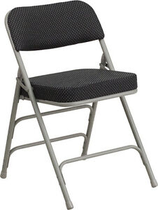 50 Pack Metal Folding Chair With Black Dot Fabric Triple Braced