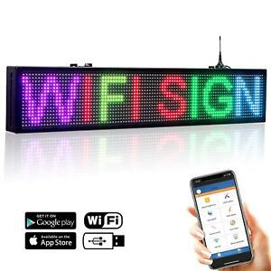 30 x6 7 Color Led Open Sign Wifi Programmable Scrolling Message Display Board
