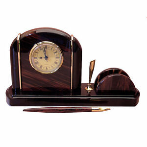 Nice Desk Decor With Clock Pen Holder And Business Card Or Paper Holder