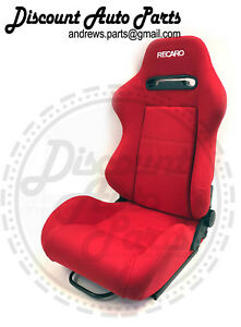 Recaro Srd Sr3 Red Racing Seats Reclinable Cloth W sliders Jdm Type R Pair
