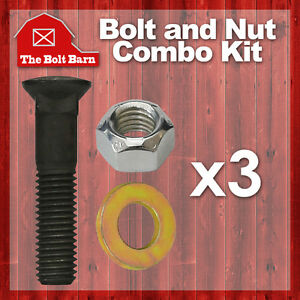 3 5 8 11x3 Grade 8 Dome Head Plow Blade Bolts 5 8 11 Hex Lock Nuts Washers