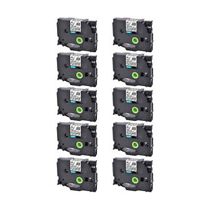 10pk Black On Clear Label Tape Tze141 Compatible For Brother Tz Tze 141 P touch