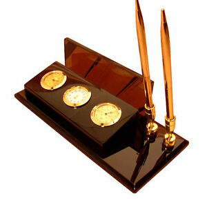 Obsidian Writing Desk Organizer With Pen Holders Paper Tray Clock Thermometer
