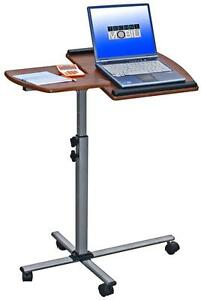 Modern Mobile Adjustable Height Laptop Desk With Wheel Casters In Mahogany